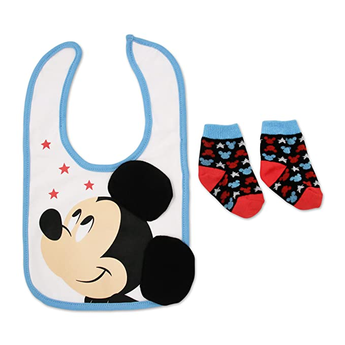 1ba7d64529f Disney Baby Boys' Mickey Mouse Cotton Dress Bib and Terry Booties Set,  white 0