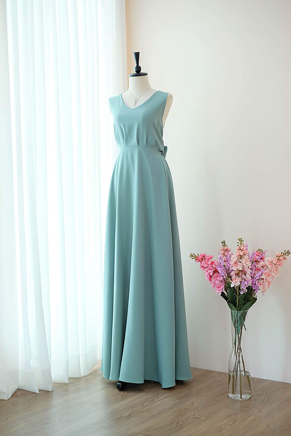 25a1e557cdd Amazon.com  Pale sage green bridesmaid dresses prom party wedding cocktail  evening gown  Handmade
