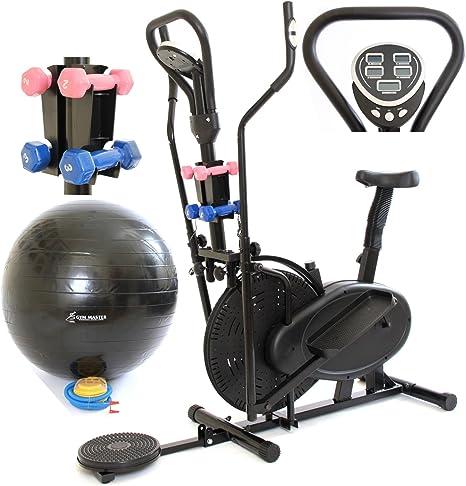 GymMaster 4 en 1 elíptica y la bicicleta estática Bicicleta elíptica en Negro con AB Twister y Pesas y bola de la gimnasia: CR-8.2GAH - 1 año de garantía: Amazon.es: Deportes y