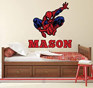 "Custom Name Wall Decal Kids Spider Man Bedroom Wall Art Decor Superheroes Boys Mural Vinyl Wall Decor Gift LN03 (15""W x 16""H inches)"