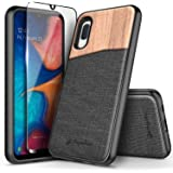 NageBee Phone Case for Samsung Galaxy A10E with Tempered Glass Screen Protector (Full Coverage), Premium Natural Wood Canvas Fabrics Armor Defender Dual Layer Shockproof Hybrid Case -Wood