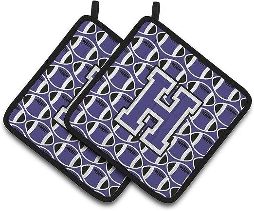 7.5HX7.5W Carolines Treasures Letter H Football Purple /& White Pair of Pot Holders CJ1068-HPTHD Multicolor