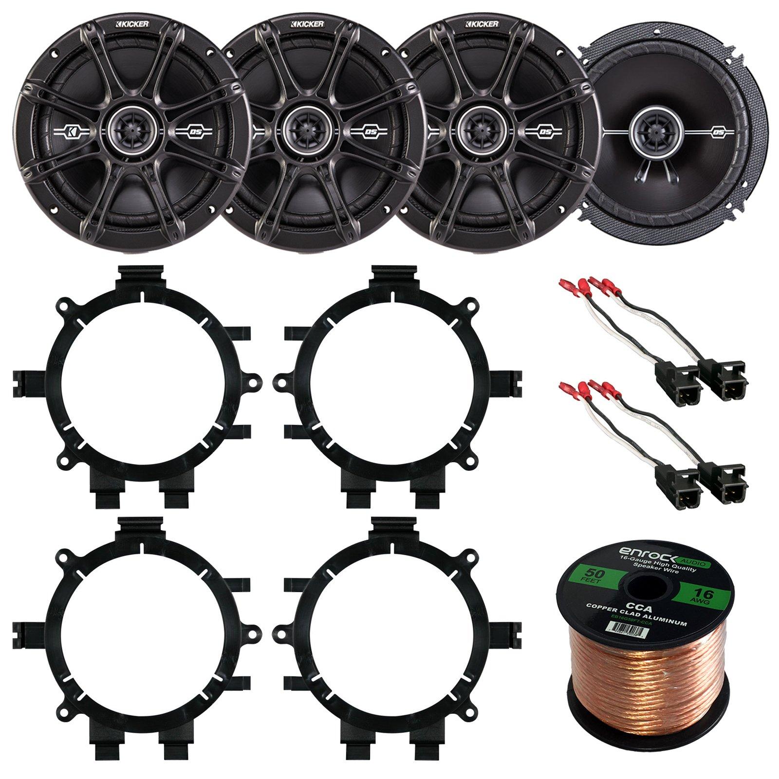 Car Speaker Bundle Combo: 2 Pairs of Kicker 43DSC6504 6.5'' Inch 480 Watts 2-Way D-Series Black Car Stereo Coaxial Speaker W/ Adapter Brackets + Wiring Harness + Enrock 50 Foot 16 Gauge Speaker Wire