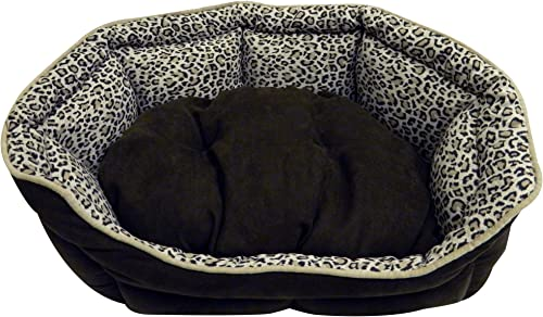 PRECISION PET Shell Daydreamer Bed, 21 by 19-Inch, Leopard Simply Suede Long NAT Terry