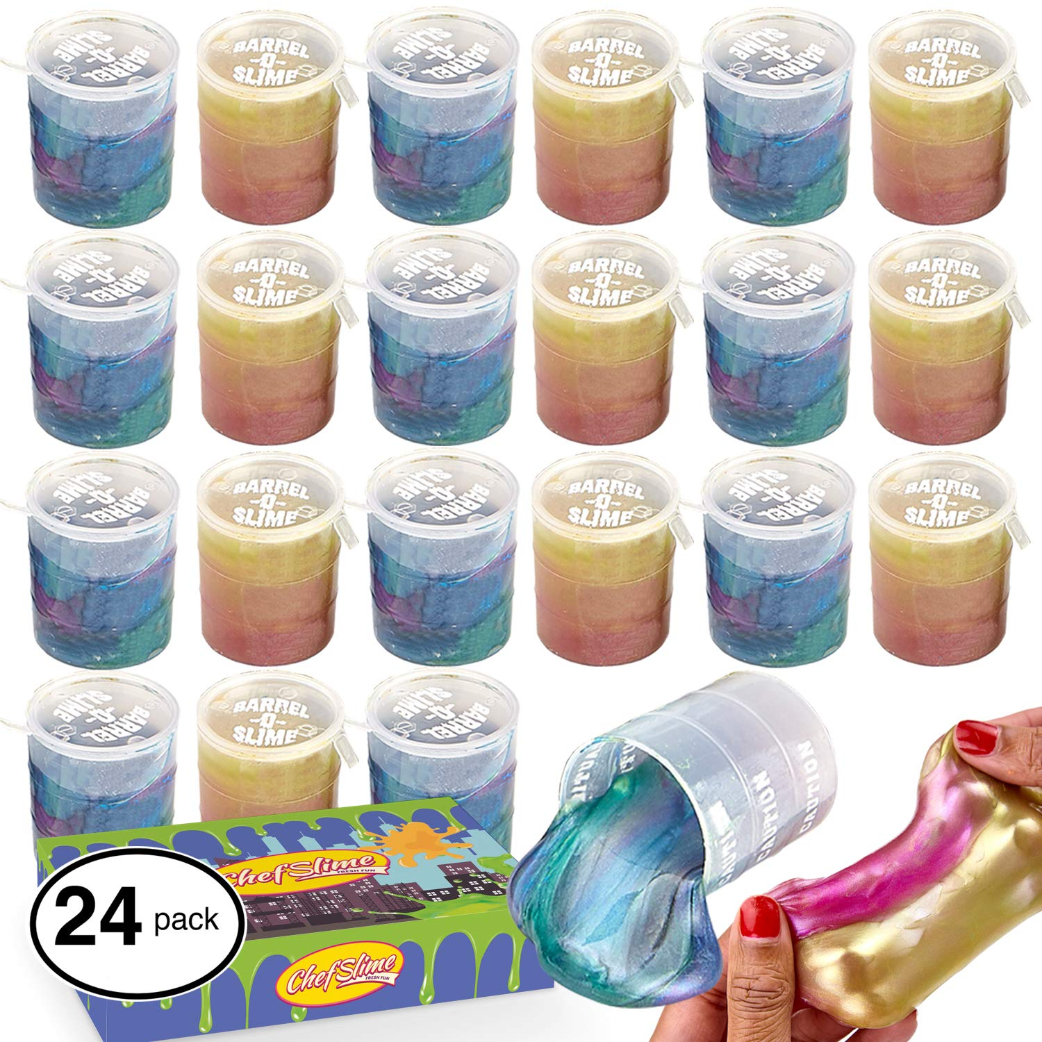 ChefSlime Barrel O Slime Mud Sludge Putty - Wet, Non Sticky, Stress Relief, Super Soft & Squishy Toy for Kids |Jumbo Pack | 24 Pcs by ChefSlime