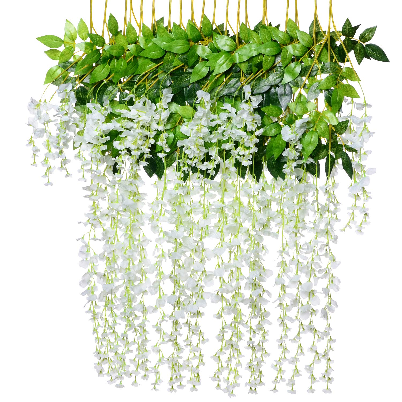 8pcs Artificial Fake Wisteria Vine Garland - Artiflr 3.6feet/Piece Silk Wisteria Vine Ratta Hanging Flower for Home Garden Wedding Decor (White)