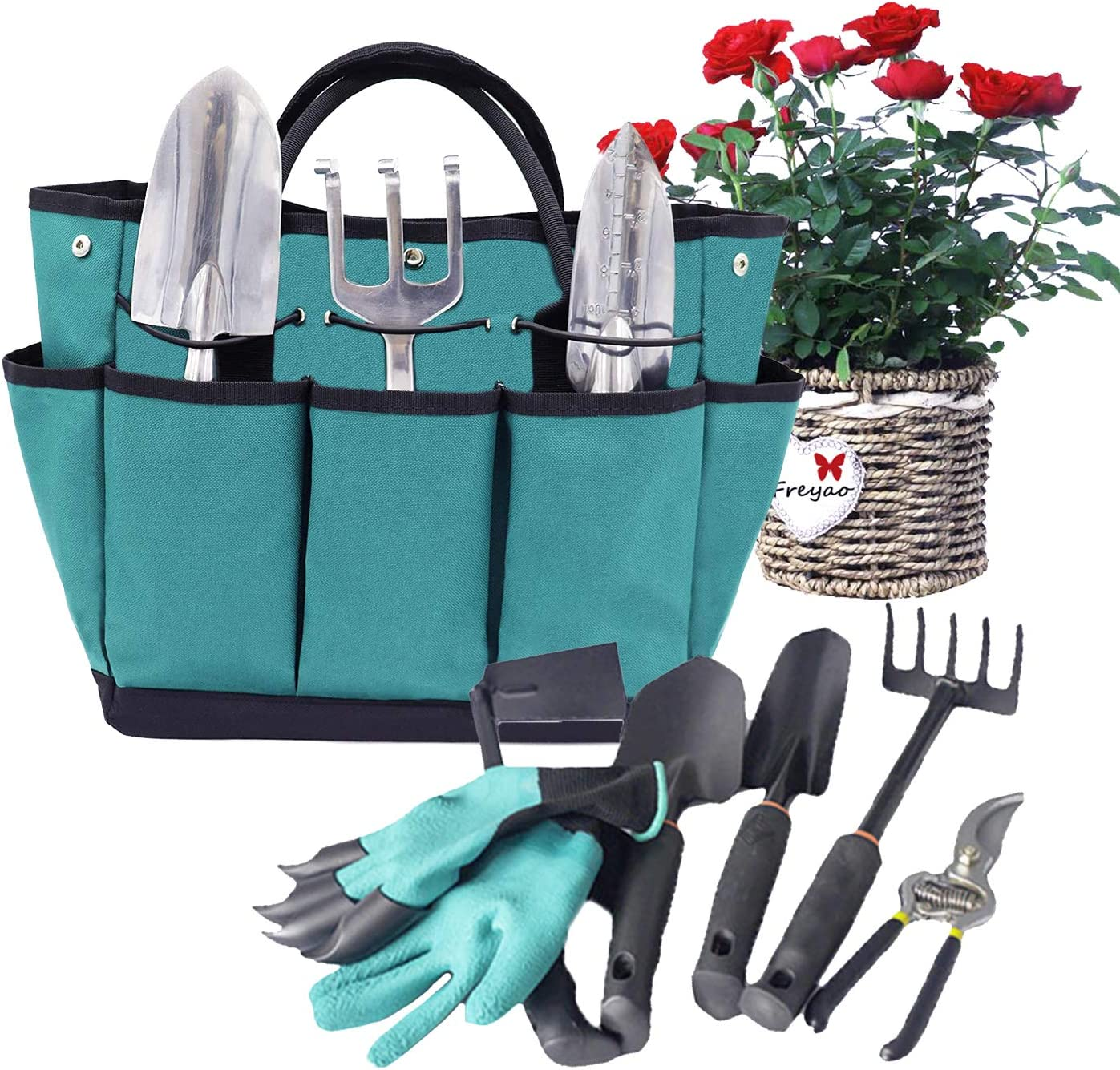 Garden Tote Gardening Organizer with 8 Pockets Garden Bags Elastic Bands to Hold the Tools Stand Up Bottom Great Gift Gardening Tools Bags for Women/Men Garden Works(Tools Not Included - Dark Green)