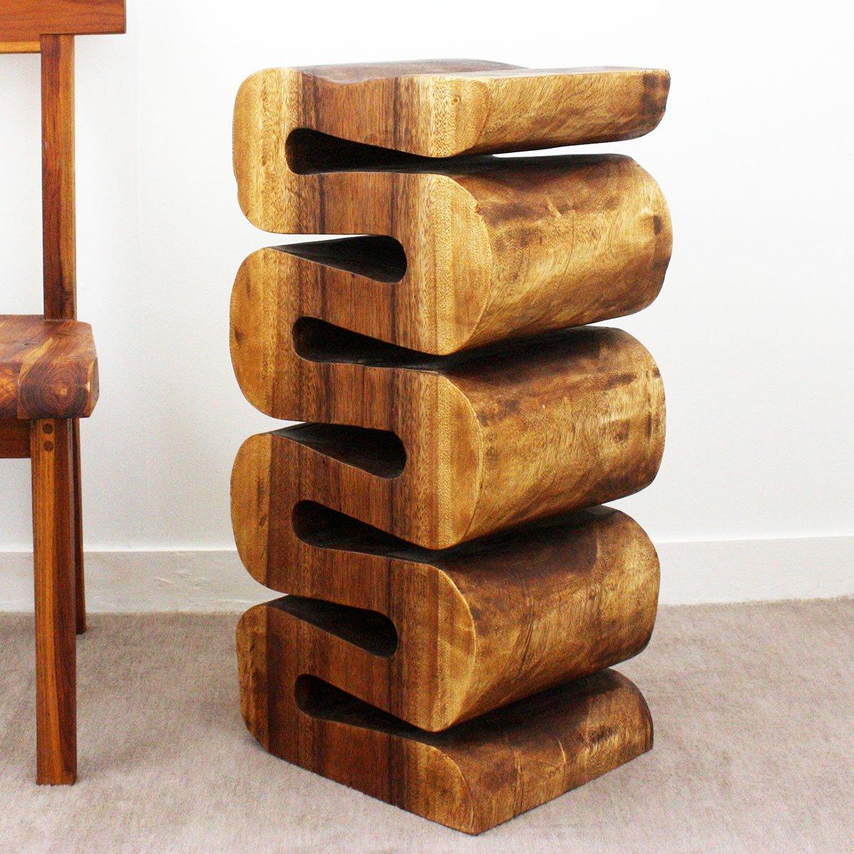 Wave Accordion Side Table 12x14x30 inch H Monkey Pod Wood w Livos Walnut Oil Fin
