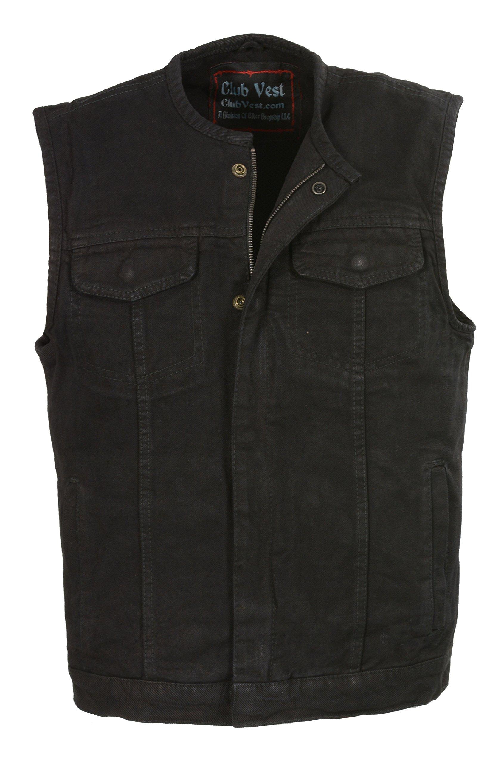 Club Vest-Men's Collarless Denim Club Vest w/Hidden Zipper (Black, MD), 1 Pack