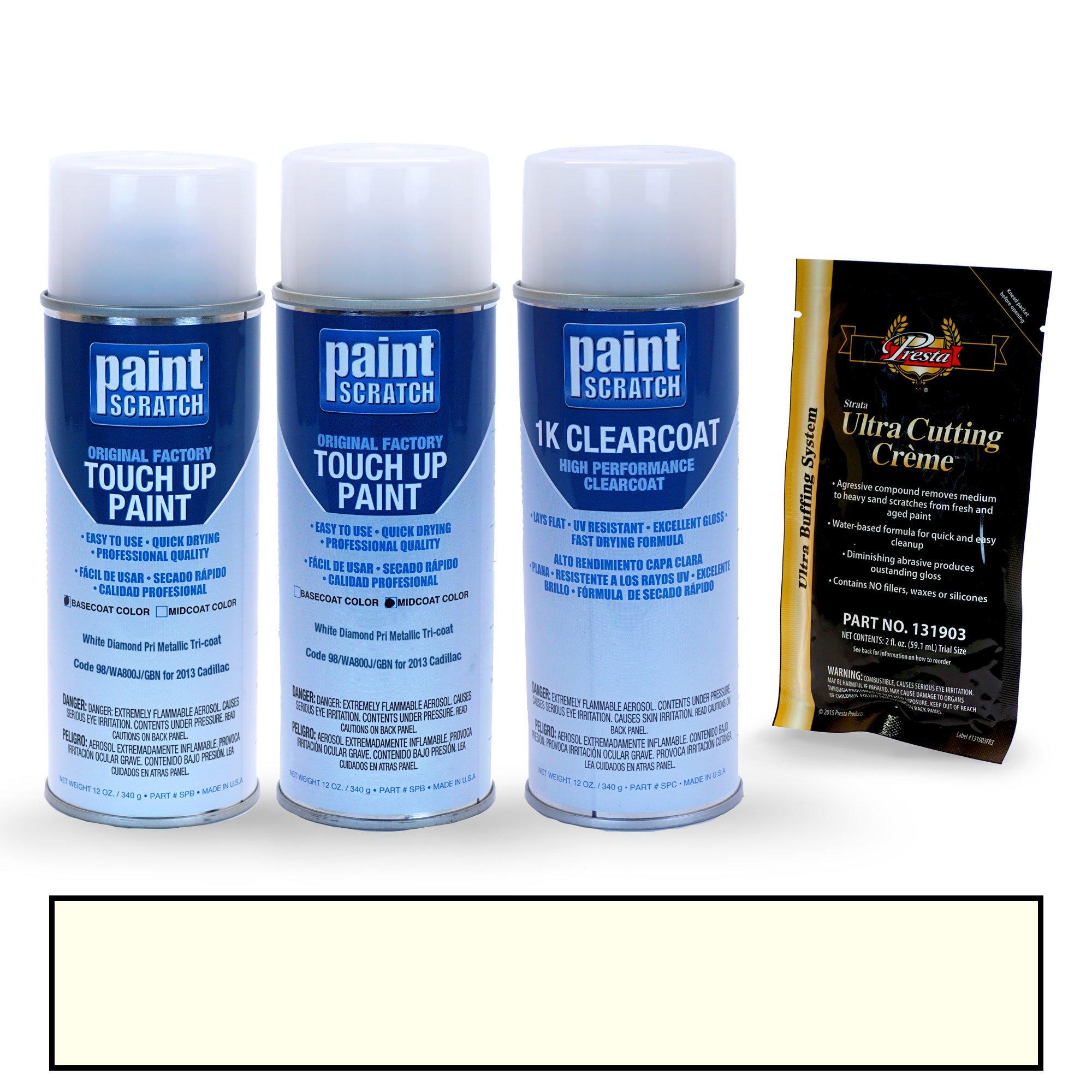 PAINTSCRATCH White Diamond Pri Metallic Tri-Coat 98/WA800J/GBN for 2013 Cadillac Escalade - Touch Up Paint Spray Can Kit - Original Factory OEM Automotive Paint - Color Match Guaranteed