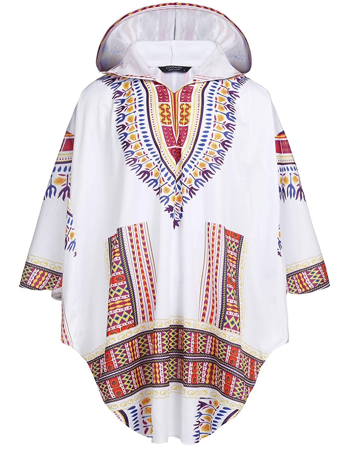 COOFANDY Men's Poncho Cape Hoodie African Print Dashiki Fashion Irregular Coat Pullover Cloak 919005577