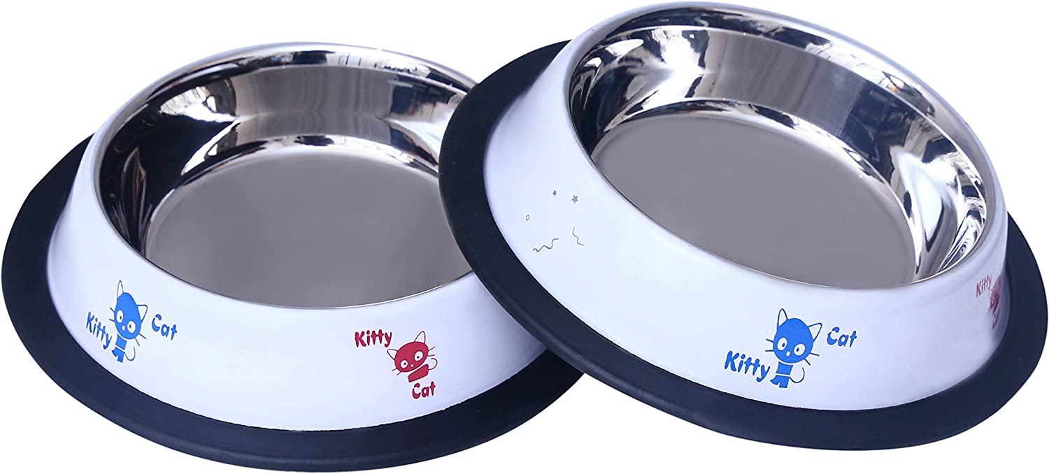 2 Pak Cat Dish by Mr. Peanut's, Rust Proof Painted Stainless Steel Bowl with Non-Skid Natural Rubber Base That Won't Slip