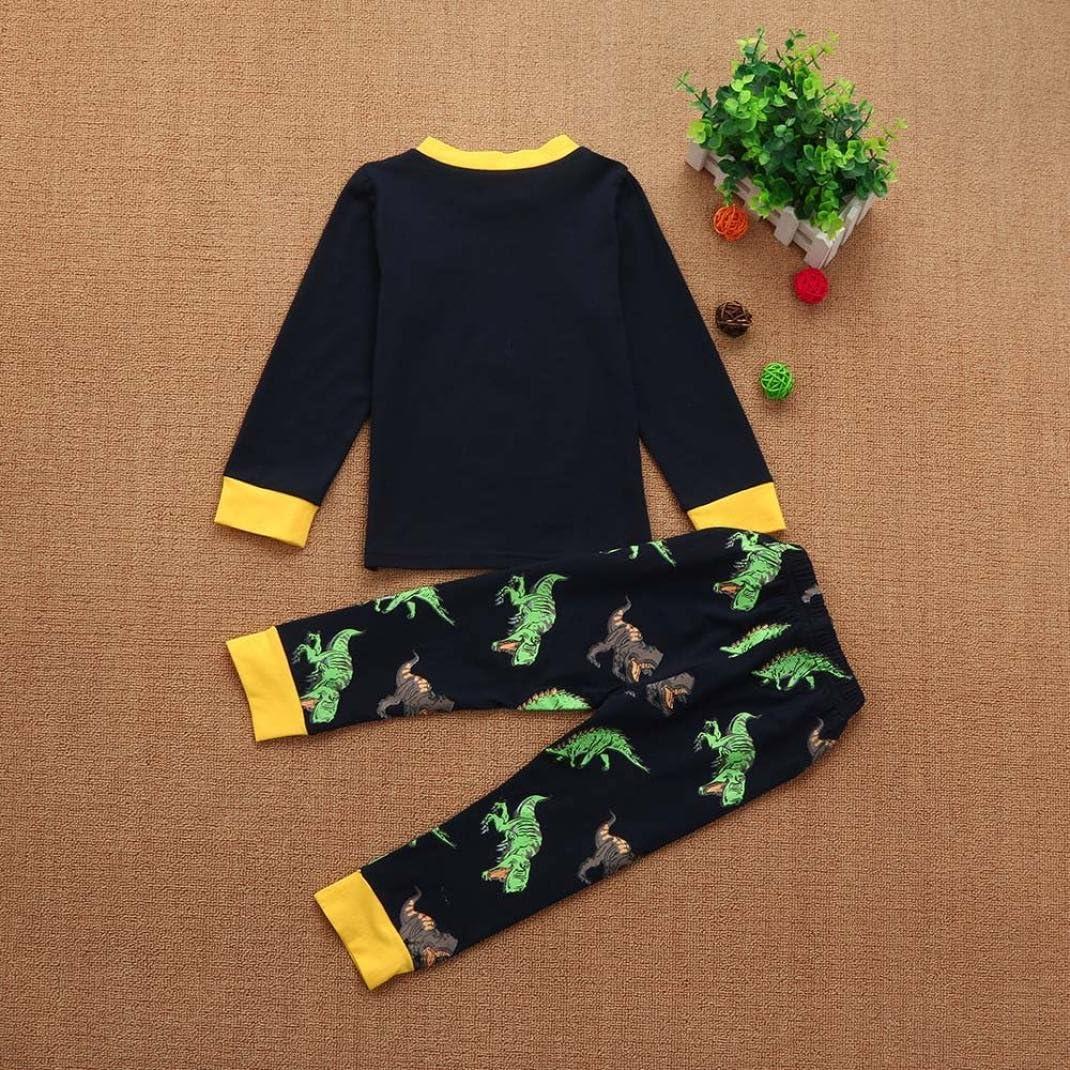 Wenjuan 2Pcs Cartoon Tops Pants Sleepwear Kids Toddler Baby Girls Boys Outfits Set Pyjamas