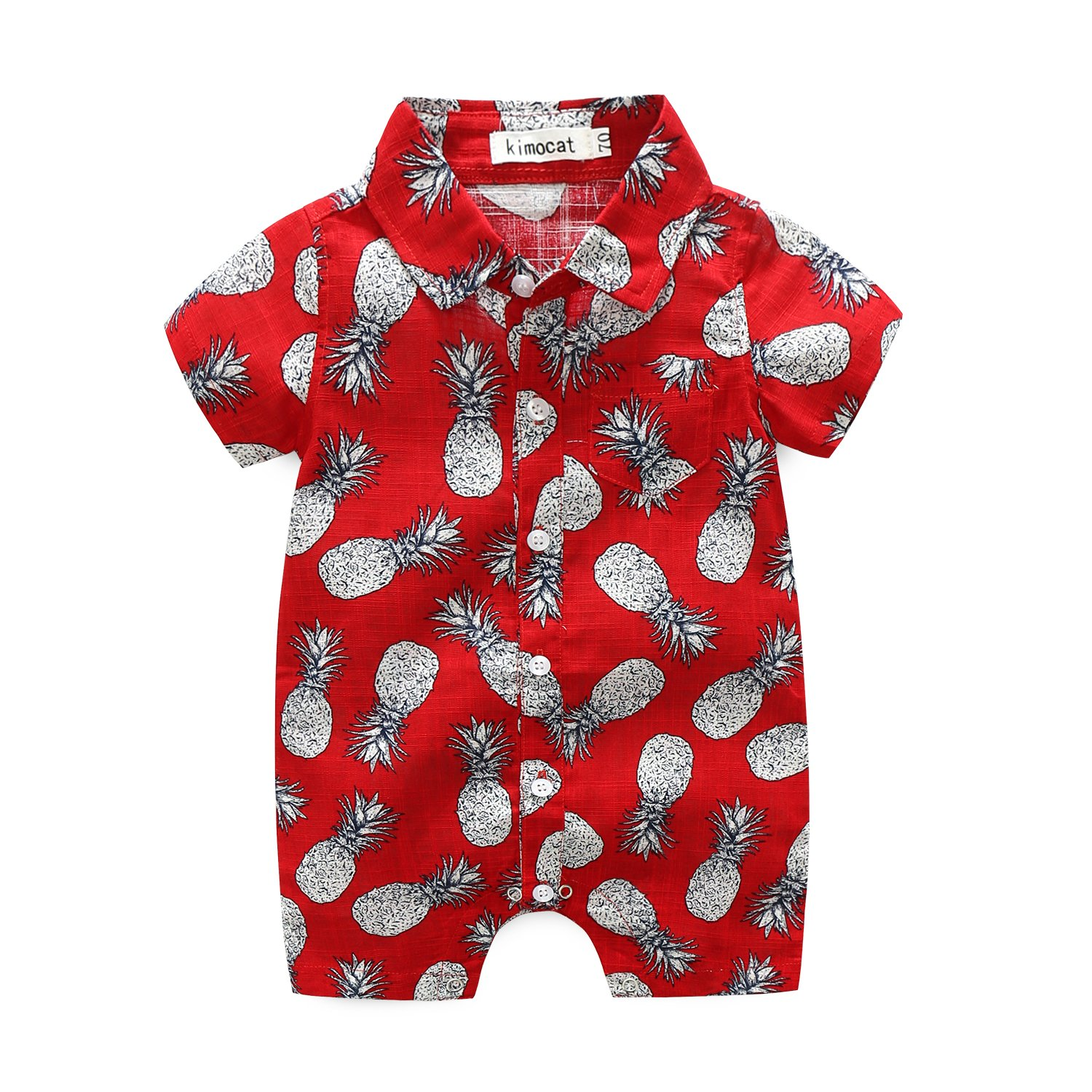 MHSH Newborn Baby Boys Short Sleeve Onesies Summer Printing Button-Down Polyester Casual Hawaiian Shirt Romper Outfits (9-12M, red)