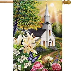"Briarwood Lane Spring Church House Flag Easter Religious Lilies 28"" x 40"""