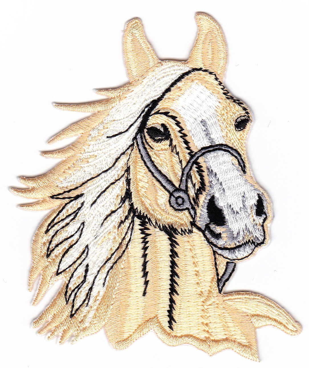 Beige Horse Head Riding Farm Sew-on Iron-on Patches Kids Children Baby Embroidered Applique by thaipatches   B00J0SPYEA