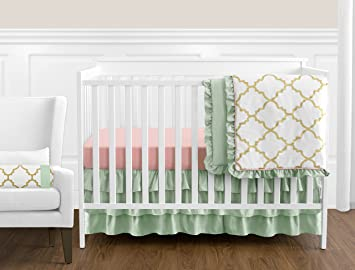 Sweet Jojo Designs 11 Piece Boutique Ava Mint Coral White And Gold Trellis Girls Baby