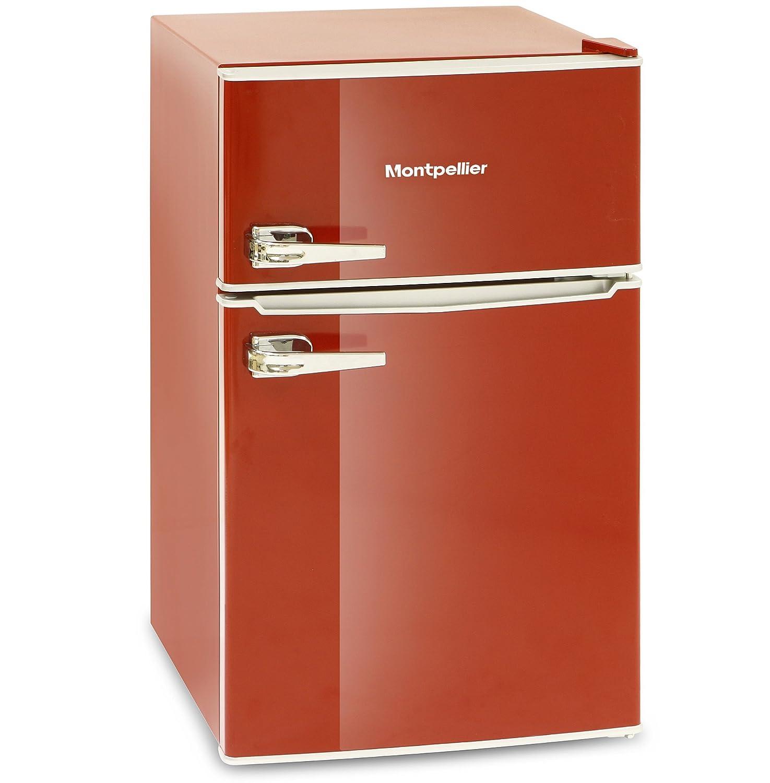 Montpellier Mab2030r Retro Style Fridge Freezer Red Amazon Co Uk