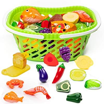 Alimentos De Juguete, Incluye La Cesta De La Compra - Frutas Plásticas Vegetales, Juguetes De Cocina No Tóxicos - Ideal Como Educativo Para Niños Y Niñas - Regalo De Cumpleaños: Juguetes y juegos