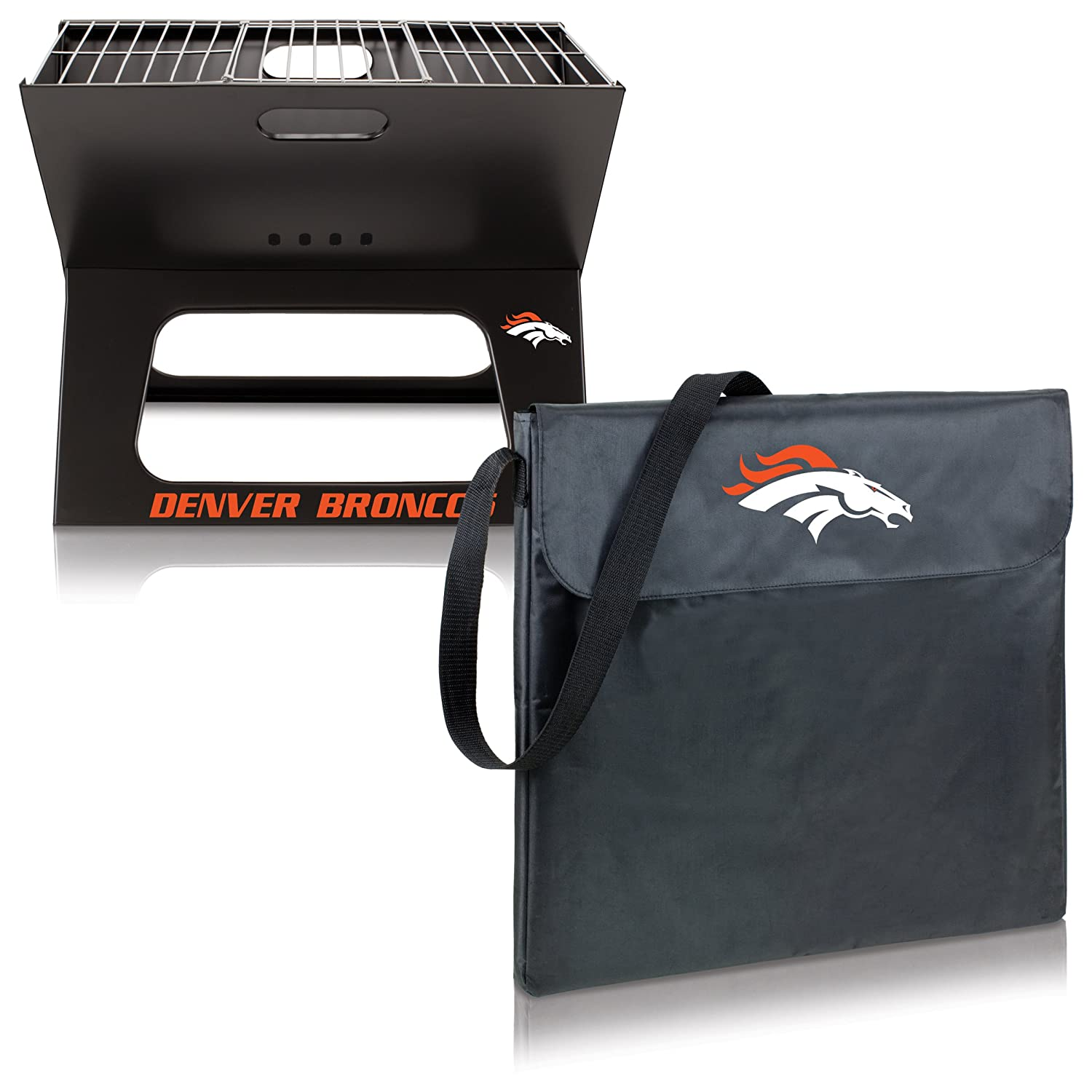 NFL Denver Broncos Portable Collapsible Charcoal X-Grill