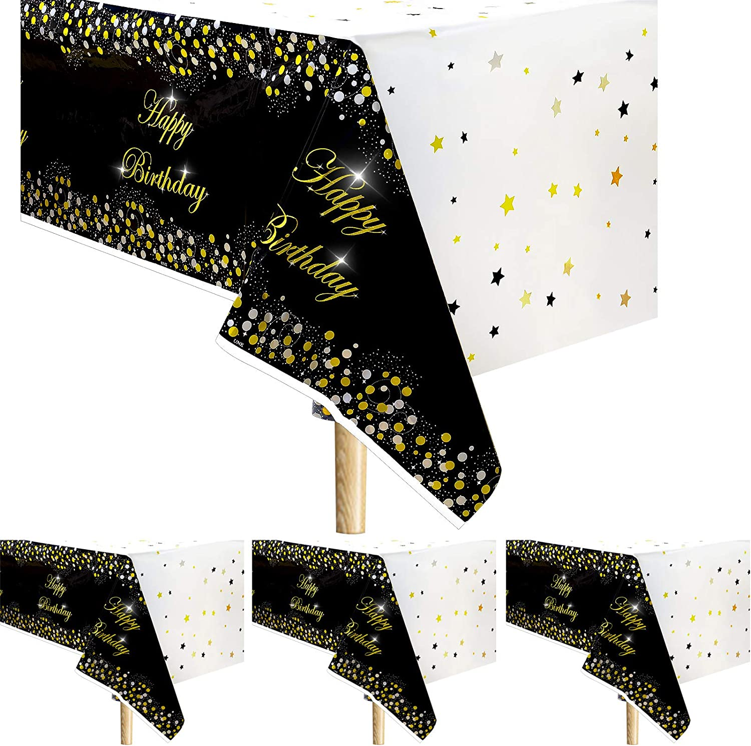 4 Pieces Happy Birthday Tablecloth Black Birthday Party Table Cover Black and Gold Dot Tablecloth Plastic Disposable Rectangle Table Cover for Birthday Party Decor Accessories