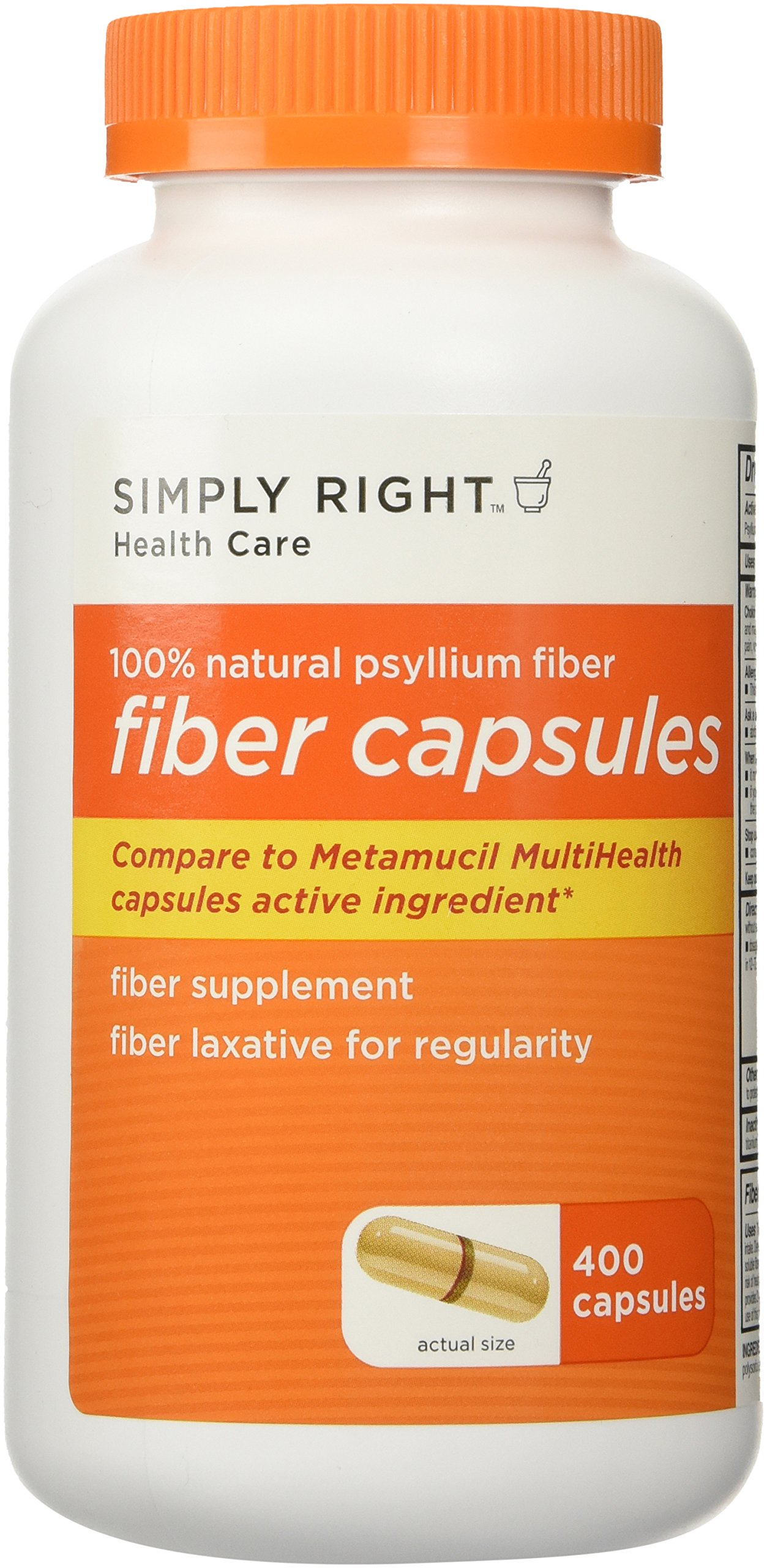 800 Count Fiber Capsules Simply Right Therapy for Regularity/Fiber Supplement - Compare to the Active Ingredient in Metamucil Capsules