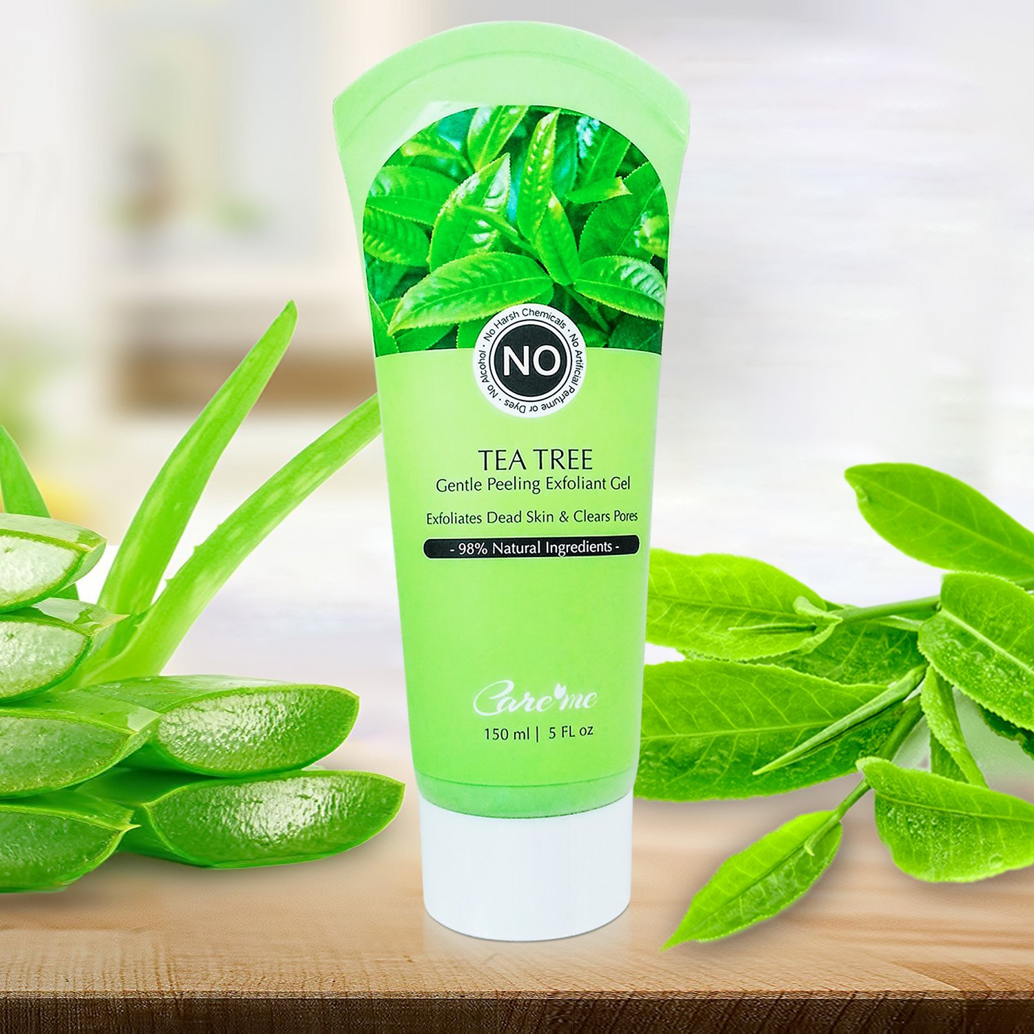 Exfoliating Peel Gel with with Tea Tree & Glycolic Acid - A Non-scrub Facial Exfoliator Instantly Removes Dead Skin Cells Revealing a Clear Refreshed Face - a Natural Exfoliant for All Skin Types