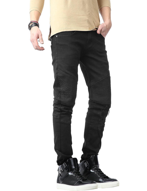 Hat and Beyond Mens Biker Jean Distressed Ripped Zipper Straight Slim Fit Stretch Denim Pants
