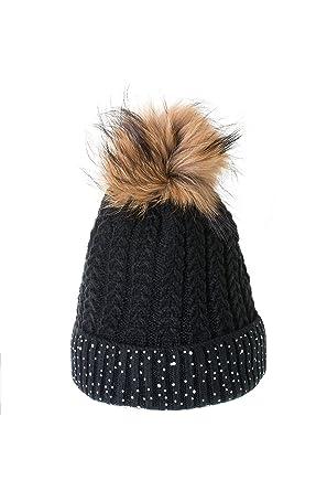 Bonnet à pompon Tricoté Fourrure Marmotte Strass Noir ... e3a6fbe5dfb
