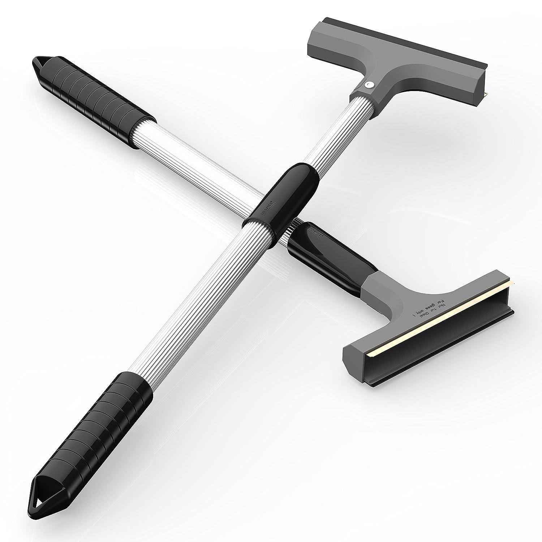 AUPROTEC Rascador de Hielo para coche con mango telesc/ópico de aluminio Ultra-Light y Rasqueta en lat/ón con banda de goma gris color