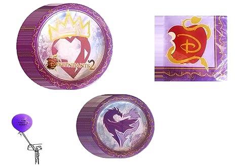Disney Descendants 2 Birthday Party Supplies Bundle Kit Including Plates Napkins