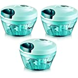 MustHaves ™ Pigeon Handy chopper, triple blade, green colour with pull cord technology (Set of 3 Pcs.)
