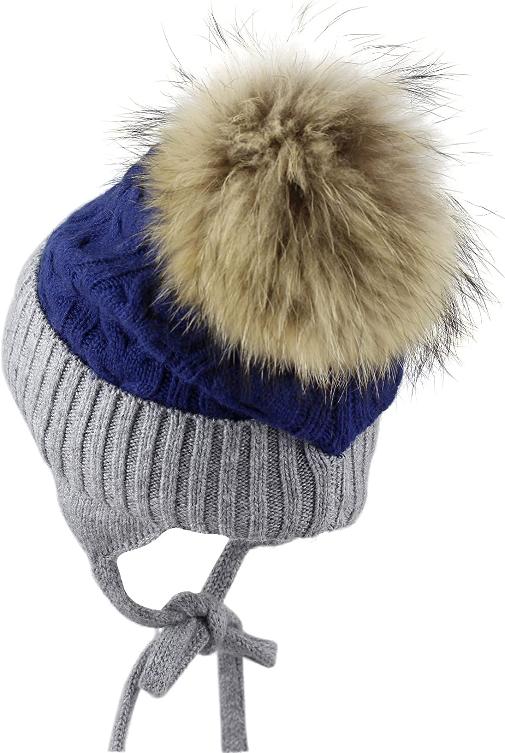 Kids Wool/&Angora with Pigtails and Removable Natural-Fur Pom Warm Beanie 4-6 y.o.