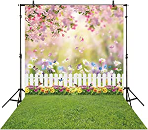 Allenjoy 6x8ft Spring Easter Garden Photography Fabric Backdrop Green Grass Lawn Pink Floral Butterfly Fence Background Baby Girl Kids Children Portrait Party Decorations Photo Booth Studio Props