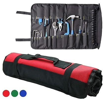 Organizador de herramientas enrollable, bolsa de 22 bolsillos interiores + 15 bolsillos para electricista, HVAC Repairman, Craftsman, Contratista, ...