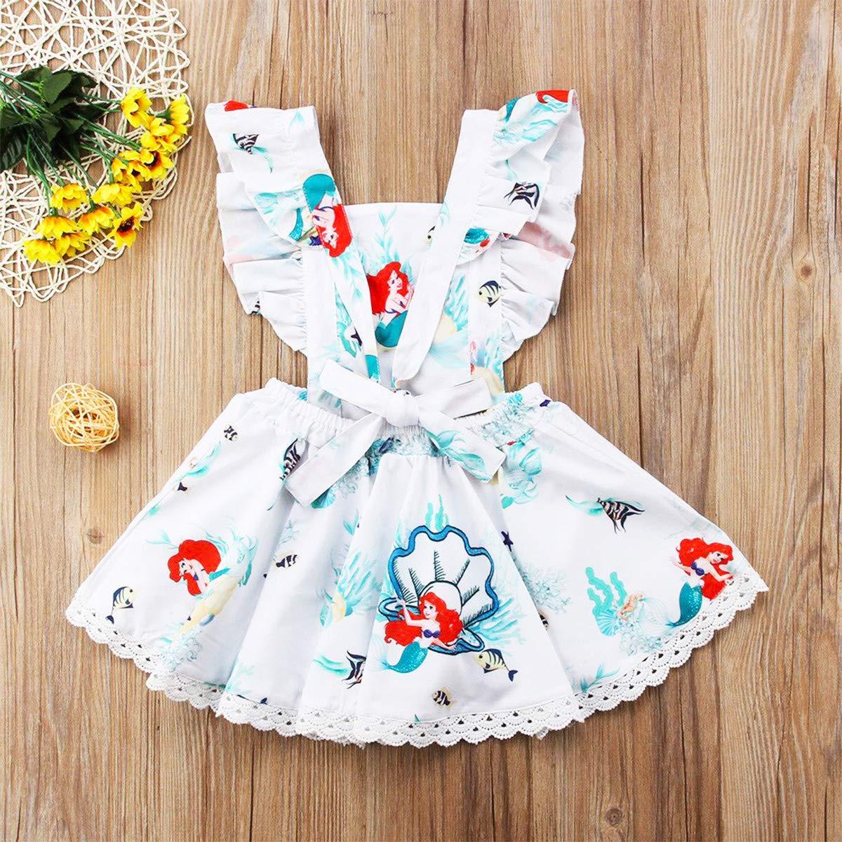 YOHA Baby Girls Ruffle Jumper Dress Suspender Skirts Pinafore Toddler Dress