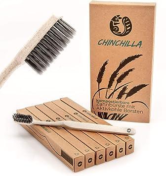Chinchilla® 6 Pack Cepillo de dientes biodegradable - Mango de ...