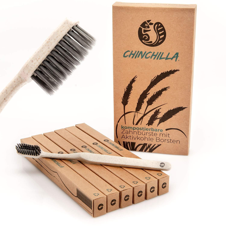 Chinchilla® 6 Pack Cepillo de dientes biodegradable - Mango de paja de trigo y cerdas de carbón activado - 100% libre de BPA, ecológico y vegano ...