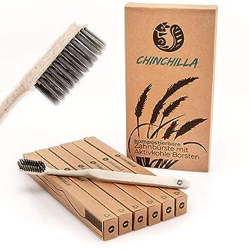 Chinchilla® 6 Pack Cepillo de dientes biodegradable - Mango de paja de trigo y cerdas