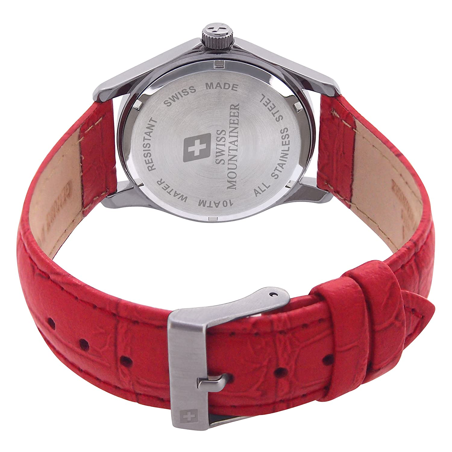 e7840fa1379 Amazon.com  Swiss Mountaineer Ladies Swiss Watch Red Leather Band White MOP  Dial Easy Read Reloj SML8051  Swiss Mountaineer  Watches
