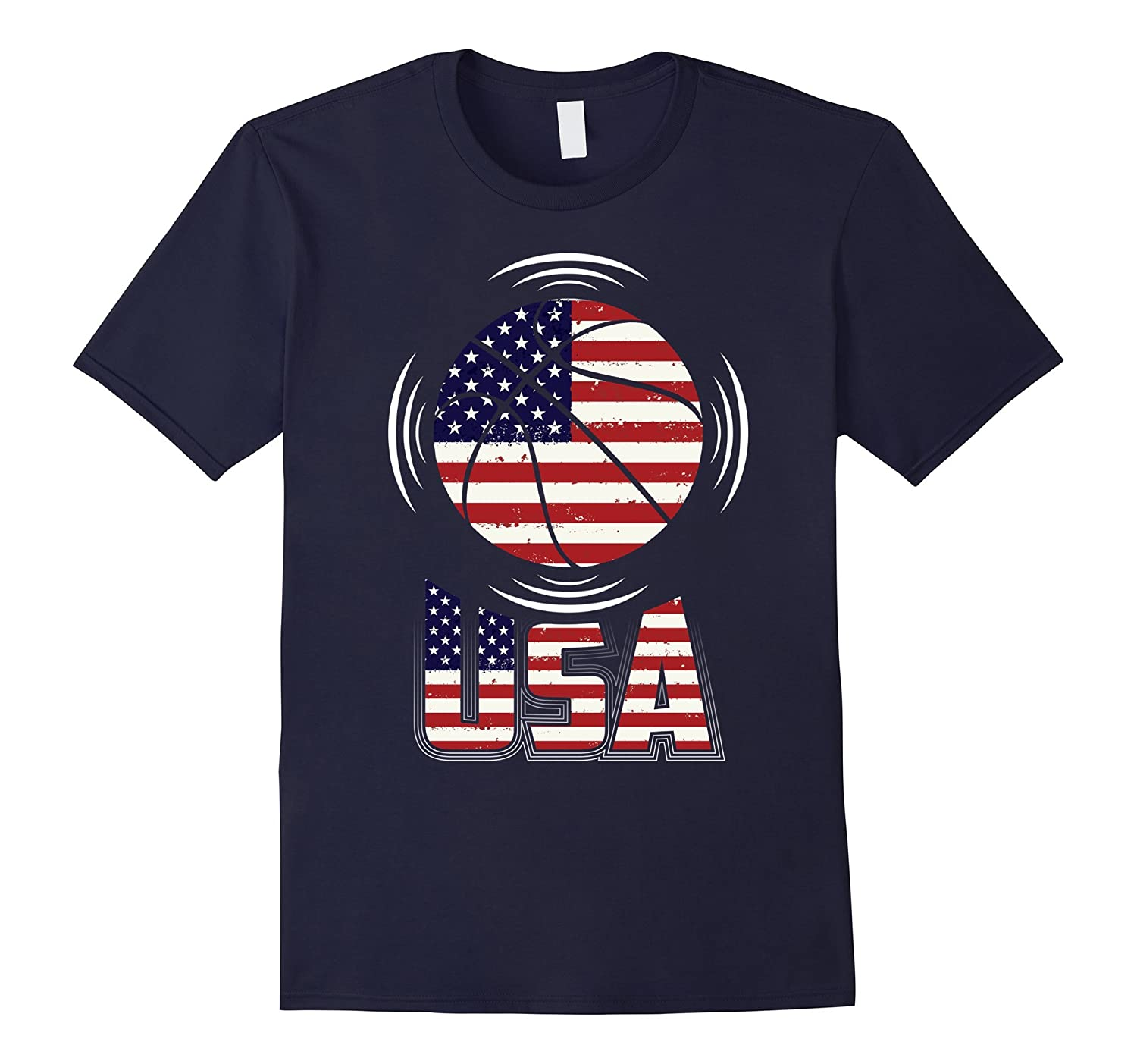 Basketball T Shirt with USA Flag Awesome T Shirt-PL