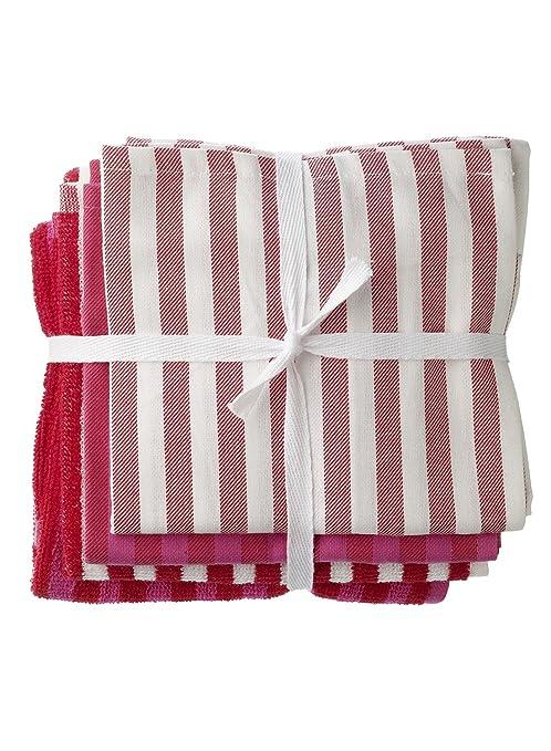Hema de 4 Pack de vajilla y cocina Toallas de mano – rojo/rosa –