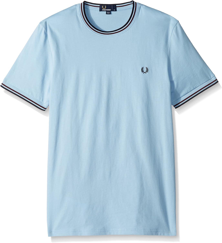 Fred Perry Hombres Cuello Redondo Doble con Punta t-Shirt Glaciar de XXL: Amazon.es: Ropa y accesorios