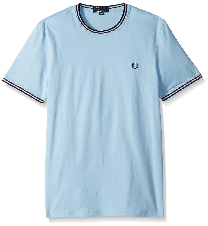 Fred Perry Hombres Cuello Redondo Doble con Punta t-Shirt Glaciar ...
