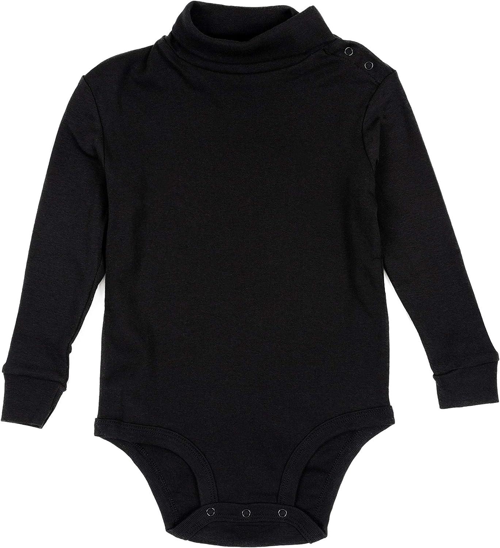 Leveret Long Sleeve Baby Boys Girls Bodysuit Turtleneck 100% Cotton (Size 6 Months-2 Toddler): Clothing