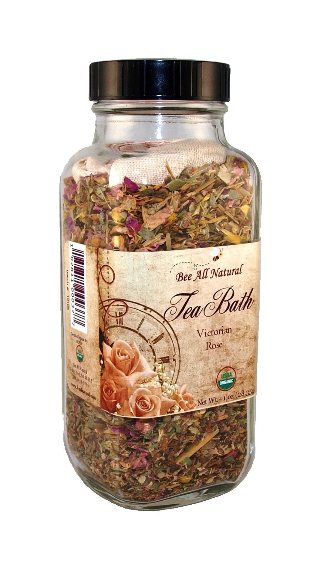 Bee All Natural Organic Tea Bath, Victorian Rose, 1-Ounce Jar by Bee All Natural (Image #1)