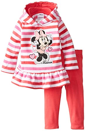 Disney Baby Girls Minnie Mouse 2 Piece Stripe Fleece Set, Pink, 12 Months