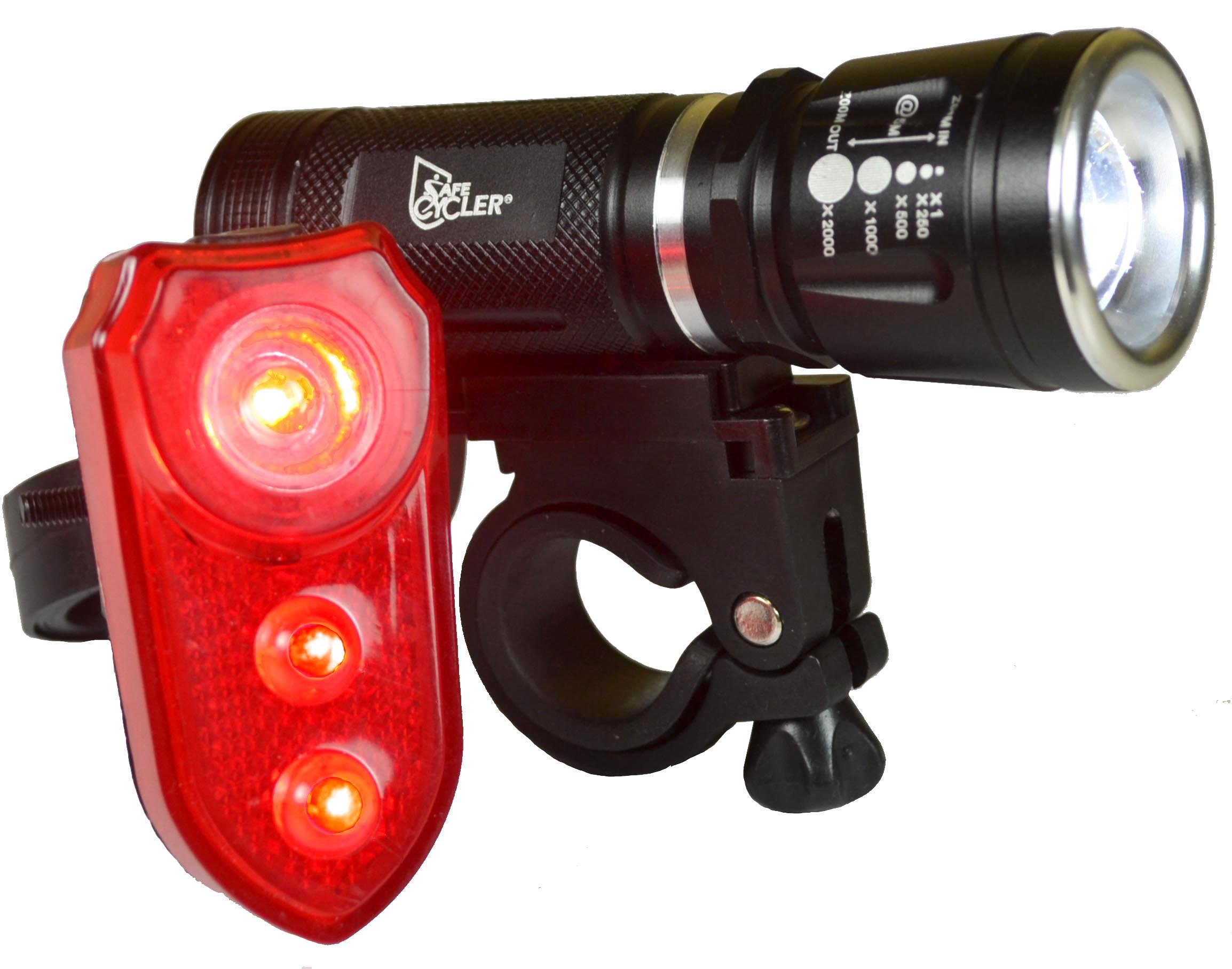 SafeCycler LED BIKE LIGHTS - Super Bright Front And Rear LED Bicycle Light Set for Your Safety