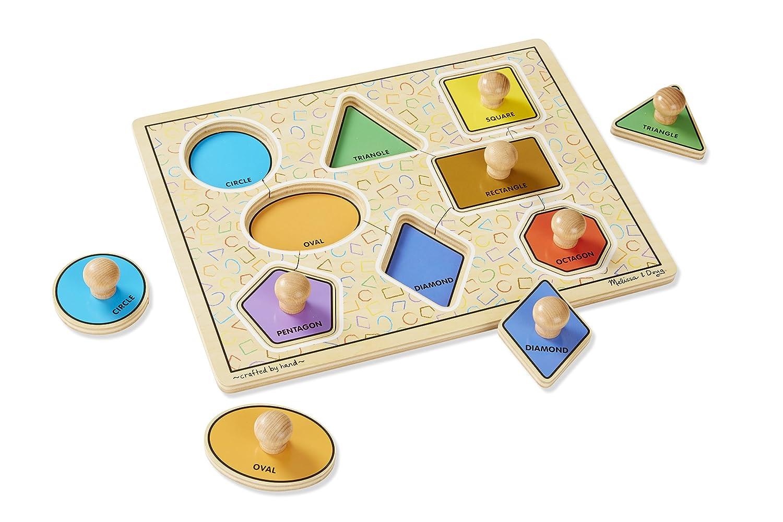 8 pcs Geometric Shapes 3390 Melissa /& Doug Deluxe Jumbo Knob Wooden Puzzle