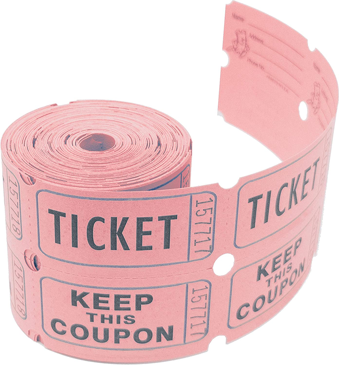 Tacticai 200 Pink Raffle Tickets (8 Colors Available) for Events, Entry, Class Reward, Admittance, or Fundraising, Tear Away Tickets, Brightly Colored Paper (Double Roll - Keep) - Made in USA
